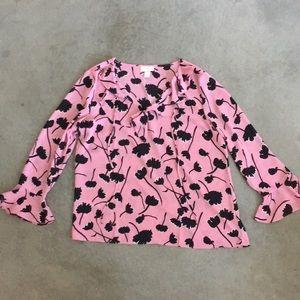LOFT Floral Long Sleeve Pink Blouse - L
